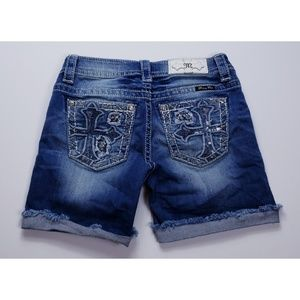 Miss Me Mid-Thigh Embellished Denim Jean Shorts